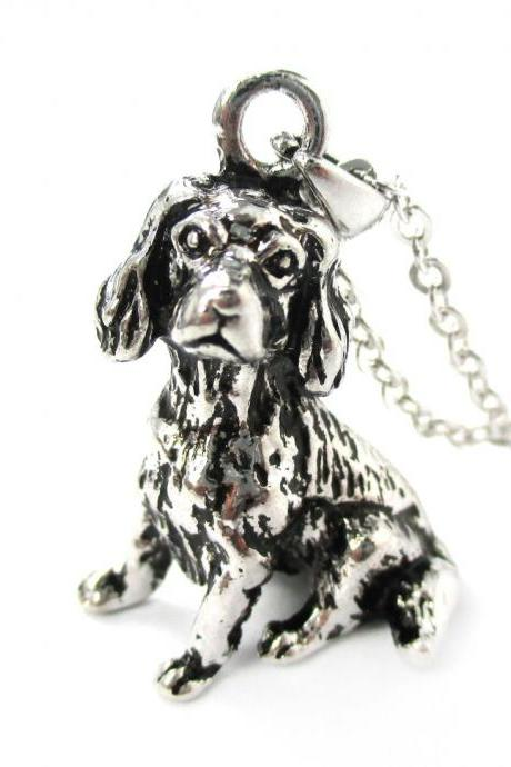3D Detailed King Charles Spaniel Animal Charm Dog Lover Themed Necklace in Shiny Silver