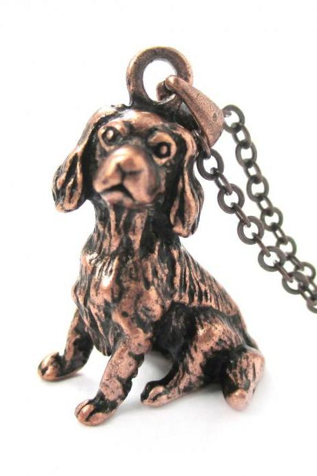 3D Detailed King Charles Spaniel Animal Charm Dog Lover Themed Necklace in Copper