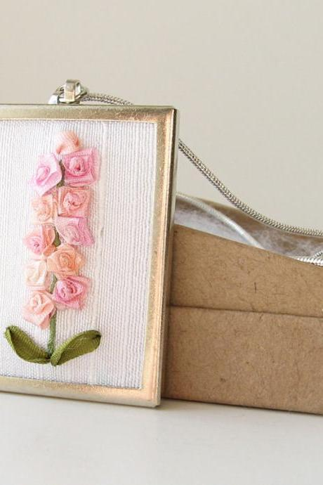 Pink Hollyhocks Necklace. embroidered silk ribbon