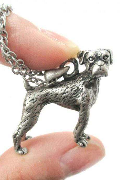 3D Detailed Boxer Dog Animal Charm Dog Lover Themed Necklace in Silver