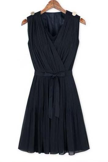 Fashion Style Sleeveless Woman Pleated Dress Solid - Dark Blue