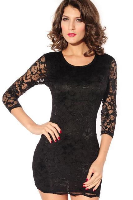 Sexy Hollow Lace Pattern Skinny Party Dress With Cutout Design - Black
