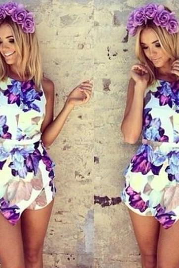 Womens Flower Print Exaggerated Flounced Summer Beach Playsuit Jumpsuits