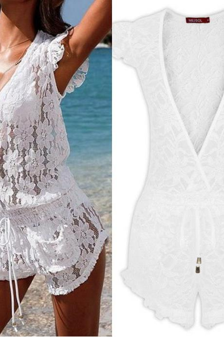Woman Sexy Swimsuit Bikini Swimwear Lace Summer Beach Jumpsuits Dress Skirt