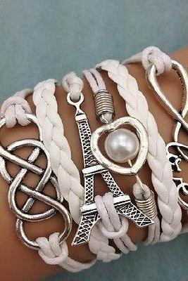 Sale!!! ONLY $3$ !!! Infinity Love Heart Tower Friendship Antique Silver Leather Charm Bracelet
