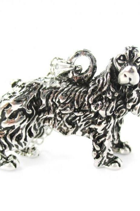 3D Detailed Cocker Spaniel Dog Lover Animal Charm Necklace in Shiny Silver
