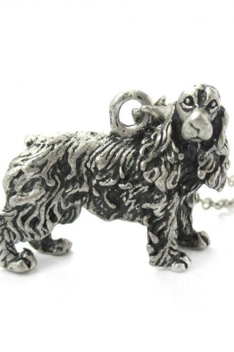 3D Detailed Cocker Spaniel Dog Lover Animal Charm Necklace in Silver for Women