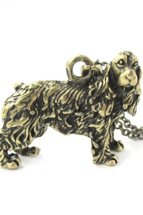 3D Detailed Cocker Spaniel Dog Lover Animal Charm Necklace in Brass for Women
