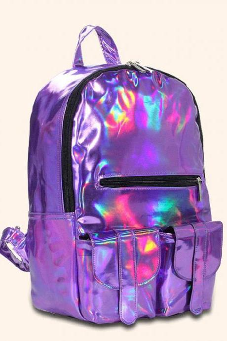 Fashion colorful Gradient IPL College Backpack
