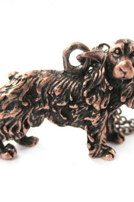 3D Detailed Cocker Spaniel Dog Lover Animal Charm Necklace in Copper for Women
