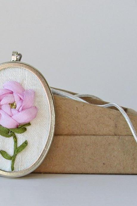 Pink Rose Necklace. June Birthday. embroidered necklace.