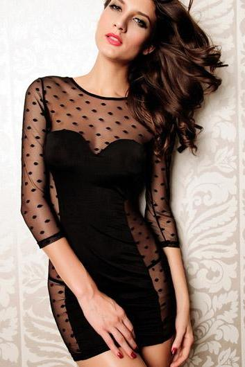 Sexy Three Quarter Sleeve Black Sheath Dress with Mesh