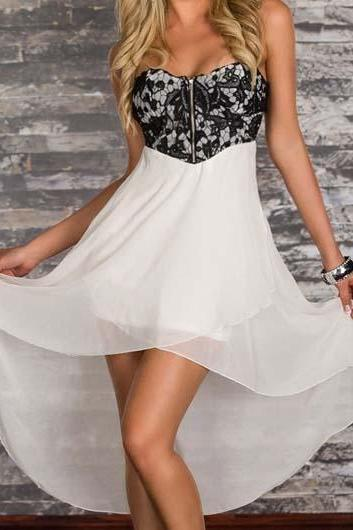 Stylish Flower Print High Low Dress with Zipper - White