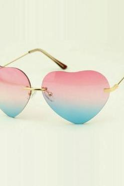 Pink & Blue Heart Shape Sunglasses