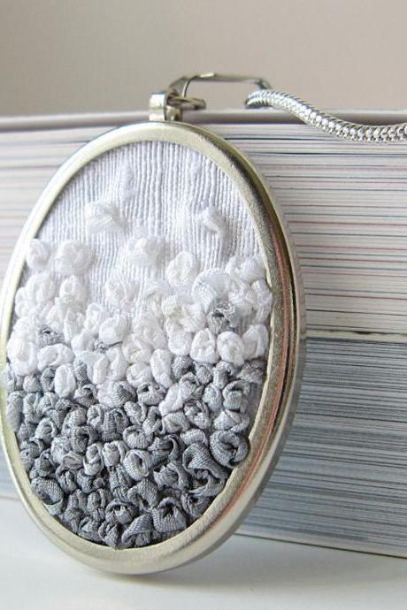 Gray Gradient Necklace silk ribbon embroidery