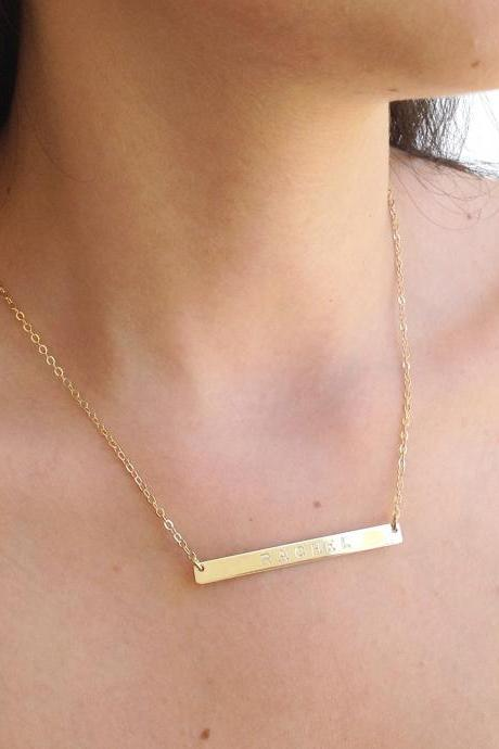 Personalized bar necklace, gold nameplate necklace, custom bar necklace, gold filled necklace B014