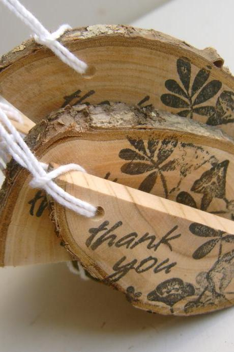 Rustic Wooden Thank You Hang Tags from branch slices 25
