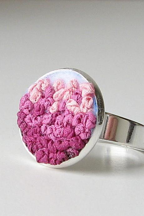 Pink Gradient Ring silk ribbon embroidery