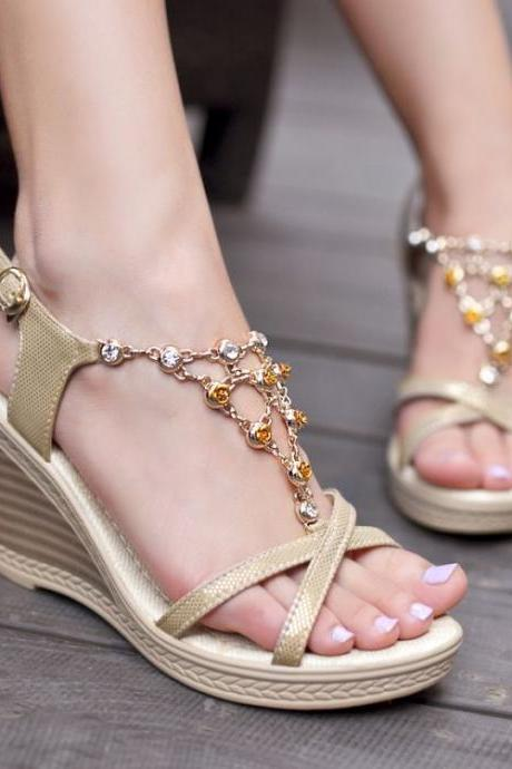 High Heel T Strap Gold PU Sandals