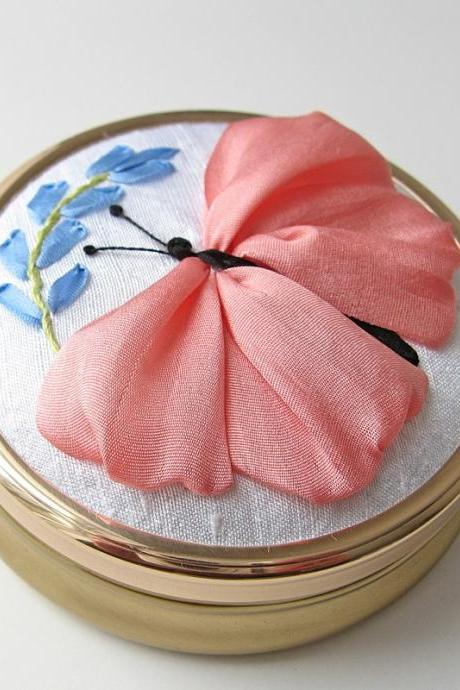 Butterfly Jewelry Box silk ribbon embroidery