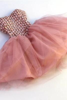 High quality Short Chiffon Homecoming Dress Lace-up with Rhinestone, Party Dresses, Lovely Party Dress