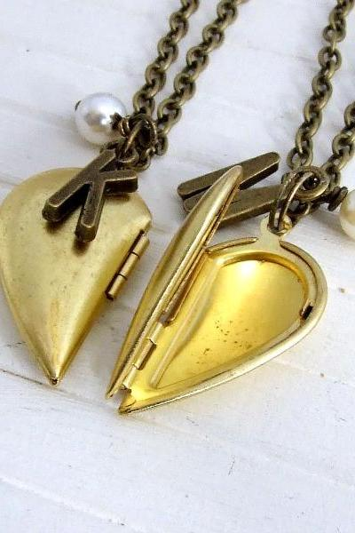 Half Heart Brass Lockets