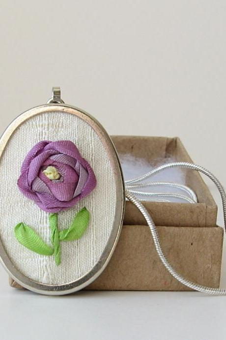Purple Silk Rose Necklace