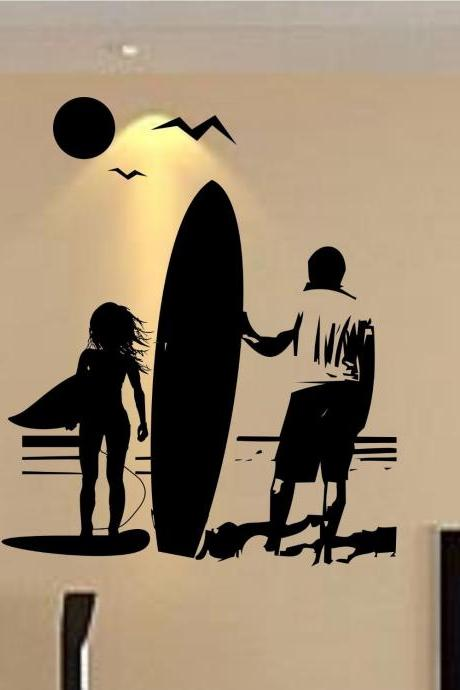 Girl and Dad with Surfboard Staring Into Ocean Sticker Wall Decal Sticker