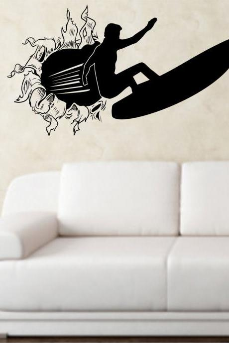 Surfer Bursting Through Wall Vinyl Wall Decal Sticker Art Sports Kid Children Ball Nursery Boy Teen