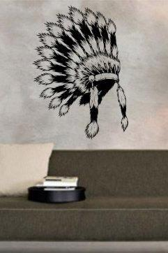 Indian Headdress 4 Wall Decal Sticker Mural Art Graphic Kid Boy Room
