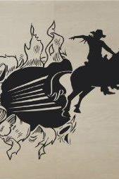 Cowboy Bursting Through Wall Vinyl Wall Decal Sticker Art Kid Children Ball Nursery Boy Teen