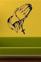 Praying Hands Wall Decal Sticker Christian Catholic Religion Religions God Gods