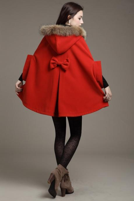 Coat Cape Jacket in Red