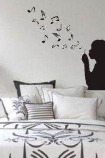 Boy Blowing Music Notes Wall Mural Decal Sticker Music