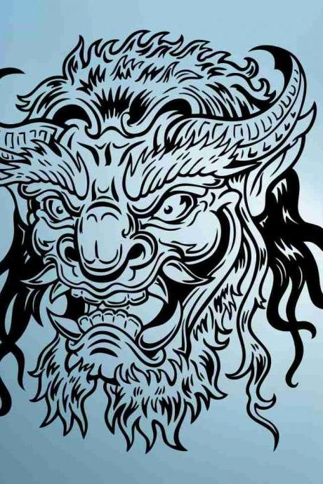 Hannya Mask Decal Sticker Wall Art Graphic Head