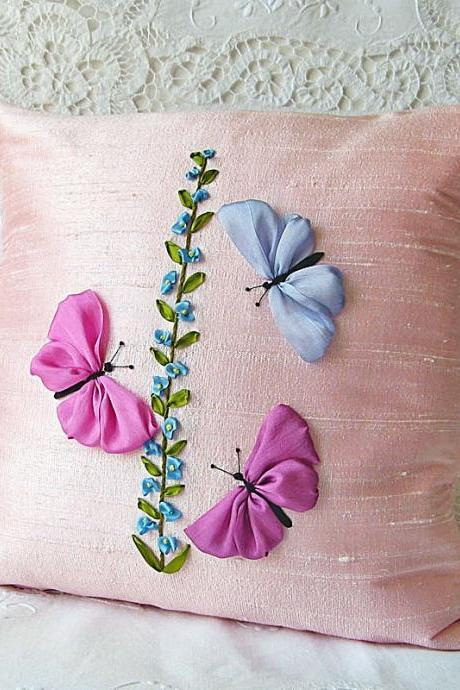 Butterflies Pillow Cover pink silk ribbon embroidery