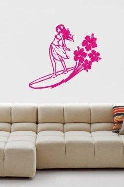 Surfer Girl Decal Sticker Wall