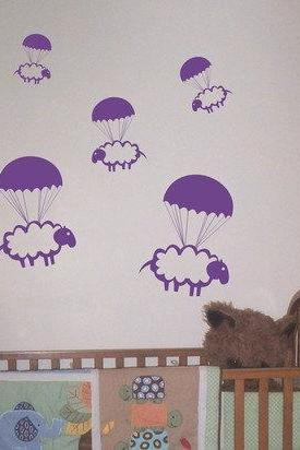 Parachuting Sheep Decal Sticker Wall