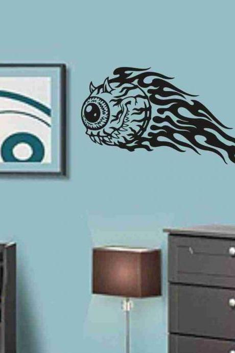 Flaming Eye Sticker Wall Art Graphic Dragons Cartoon