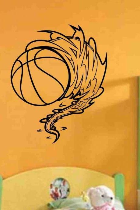 Basketball Cyclone Vinyl Decal Sticker Wall Art Graphic Kids Room Sports Nursery