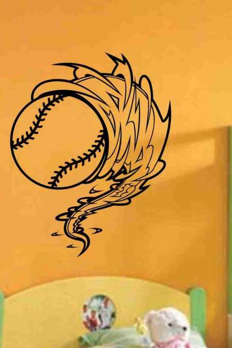 Baseball Cyclone Vinyl Decal Sticker Wall Art Graphic Kids Room Sports Nursery