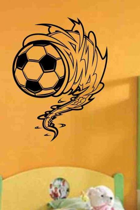 Soccer Ball Cyclone Vinyl Decal Sticker Wall Art Graphic Kids Room Sports Nursery