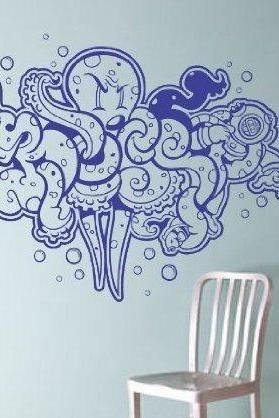 Graffiti Octopus Wall Vinyl Decal Sticker Decals Nautical Ocean