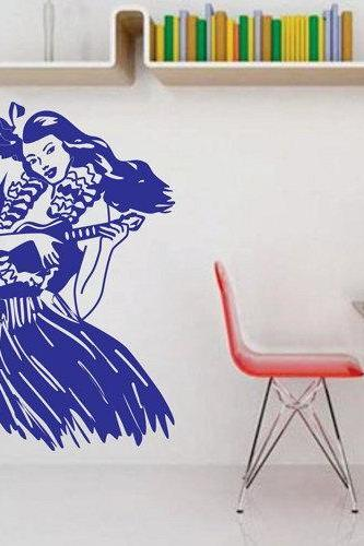 Retro Hula Girl Wall Decal Sticker