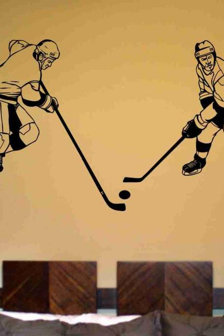 Hockey Version 120 Ice Hockey Players Wall Vinyl Wall Decal Sticker Art Sports Kid Children Nursery Boy Teen