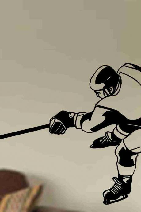 Hockey Version 118 Ice Hockey Player Wall Vinyl Wall Decal Sticker Art Sports Kid Children Nursery Boy Teen