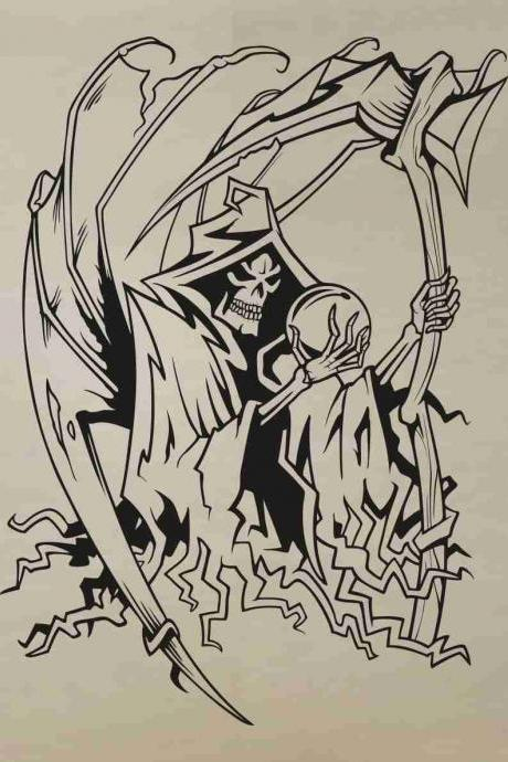 Skull Version 129 Bones Grim Reaper Wall Vinyl Decal Sticker Art Graphic Sticker Skulls