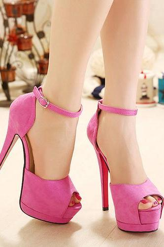 Pink Stiletto High Heel Peep Toe Sandals