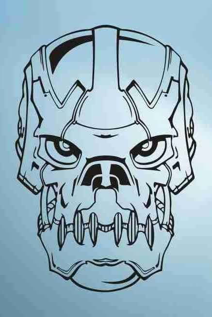 Skull Version 113 Bones Robot Wall Vinyl Decal Sticker Art Graphic Sticker Skulls