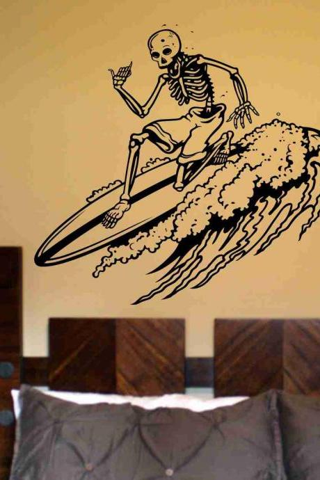 Skeleton Version 107 Surfer Wall Vinyl Decal Sticker Art Graphic Sticker Sugar Skull